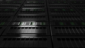 Server room dolly shot, low angle view. Version with no defocus. Seamless loop able 4K footage stock illustration