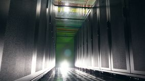 Server room with an empty pathway. data center, ecurity, data ptotection, data storage, server room, server rack, server. Server room with an empty pathway. 4K stock video