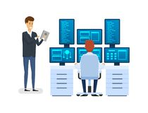 Server room, equipping network administrator`s workplace, monitoring database. Server room, equipping network administrator workplace, monitoring database vector illustration