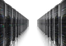 Server room interior. Isolated on white reflective background Stock Images