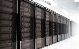 Server room Interior. On white reflective background Stock Images