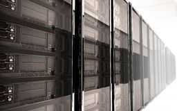 Server room Interior. On white reflective background Stock Photography