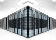 Server room Interior. On white reflective background Royalty Free Stock Photography