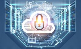 Server room interior, cloud computer. Cloud computer icon over interior of server room with gray floor and ceiling, rows of servers along the walls and lights in vector illustration