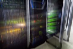 Server room interior in datacenter, multi exposure futuristic design. Web network, internet telecommunication technology, big data stock images