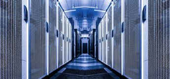 Server room interior internet telecommunication high technology in datacenter. Rows of rackes with supercomuters. Data centre stock images