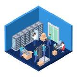 Server room isometric. Information technology server engineer 3D vector illustration. Datacenter system, hosting communication security stock illustration