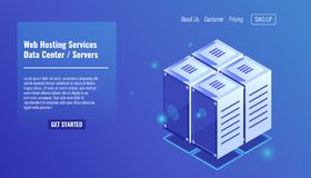 Server room, isometric rack icon, website hosting services, datacenter concept vector. Illustration Stock Images