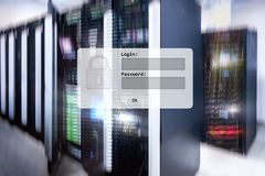 Server room, login and password request, data access and security.  stock photography