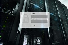 Server room, login and password request, data access and security.  stock photos