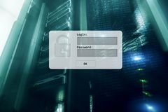 Server room, login and password request, data access and security.  royalty free stock image