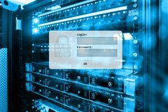Server room, login and password request, data access and security.  royalty free stock images