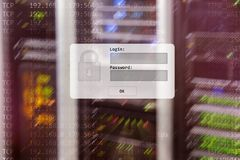 Server room, login and password request, data access and security.  royalty free stock photos