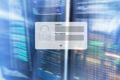 Server room, login and password request, data access and security.  stock image