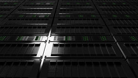 Server room low angle view. Version with no defocus. CGI. Operating modern black server racks Royalty Free Stock Photography
