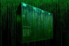 Server room with matrix code Stock Image