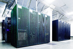 Server room with matrix code Royalty Free Stock Photos