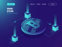 Server room for mining crypto currency bitcoin, computer technology web page, data center. Cloud processing services ultraviolet isometric vector illustration Stock Image