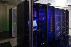 Server room with modern communication and server equipment Royalty Free Stock Photography