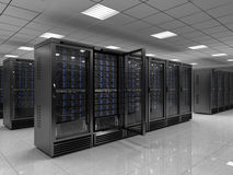 Server room. Modern Server room - 3d render Royalty Free Stock Photos