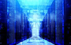 3D illustration virtual structure of cyberspace of extruded cubes on the background of modern data center with blue backlight royalty free stock image