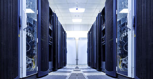 Server room with modern equipment in the data center black and white Royalty Free Stock Photo