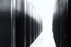 Server room with modern mainframe equipment in data center. Black and white Stock Photo