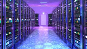 Server Room Network Graphics Animation Background vector illustration