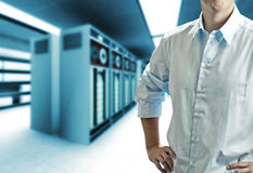 Server room with operating stuff Stock Photography
