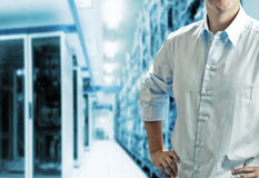 Server room with operating stuff Stock Images