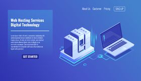 Server room rack, remote system administration, outsourcing service, computing technologies isometric vector icon 3d. Server room rack, remote system Royalty Free Stock Photos