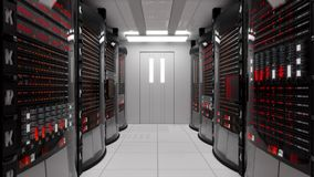 Server room and rack servers with server error stock video footage