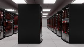 Server room, rack servers with server error stock video
