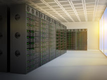Server room. Serve room with rows of computers in batches. 3D conceptual render Stock Photography