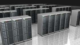 Server room with server clusters. Royalty Free Stock Photos