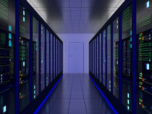 Server Room. Symmetrical server room (colocation) or colo with server cabinets on two sides Royalty Free Stock Photos