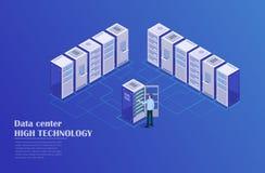 Server room. Web hosting and big data processing, server room rack. Concept of data center isometric vector illustration