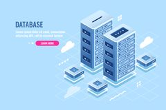 Server room, web site hosting, cloud storage, database and data center isometric icon, blockchain digital technology royalty free illustration