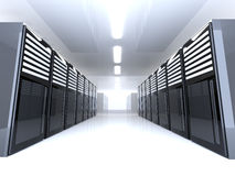 Server Room - wide angle. 3D Illustration. Mainframes in a Server Room vector illustration