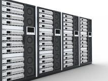 Server row. On white background (done in 3d Royalty Free Stock Image
