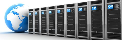 Server row and earth Stock Photography