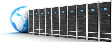Server row and earth Stock Images