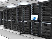 Server-ruimte zwarte Stock Foto's