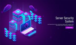 Server Security System concept based landing page design with is. Ometric illustration of servers and laptop under security region royalty free illustration