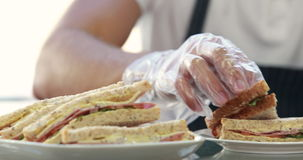 Server serving sandwich for client lunch stock video footage