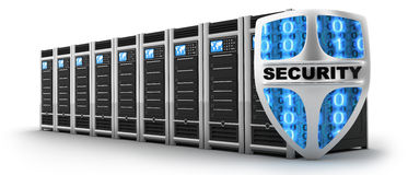 Server and shield security Royalty Free Stock Photo