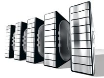 Server  With Silver metal. Servers for web design and stocks Royalty Free Stock Photos