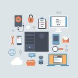 Server som beräknar vara värd den moderna plana uppsättningen för stilutrustningsymbol Fotografering för Bildbyråer