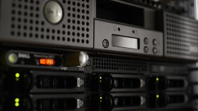 Server Stack With Hard Drives And LTO8 Archiver From Data Center Royalty Free Stock Images