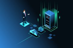 Server storage site vector image. Server storage site for global data upload through wireless technology. Isometric people. Vector illustration Royalty Free Stock Photo